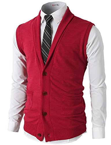 d914b5d0ce H2H Mens Casual Slim Fit V-Neck Button-Front Shawl Collar Vest With Pockets