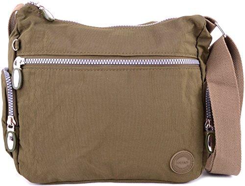 Ladies / Womens Crinkled Nylon Cross Body / Shoulder / 'Small Messenger' Bag Green