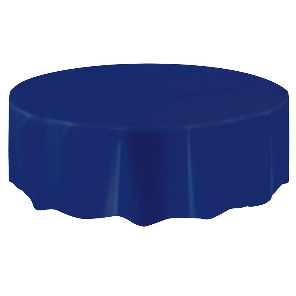 Round Navy Blue Plastic Tablecloth, 84''