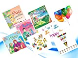 Princess Series Eid Fun Good Pack Set 2: Four Titles Based on 99 Names of Allah: Princess Aziza, Karima, Noura & Shahida Books with Eid Mubarak Swirls, Happy Eid Flags, Eid Balloons & Emoji Goody Pack