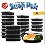tupperware containers black - Snap Pak 12009 Rectangular Food Storage Containers 38 oz. Black/Clear 50Piece Pack (25 Containers & 25 Lids)