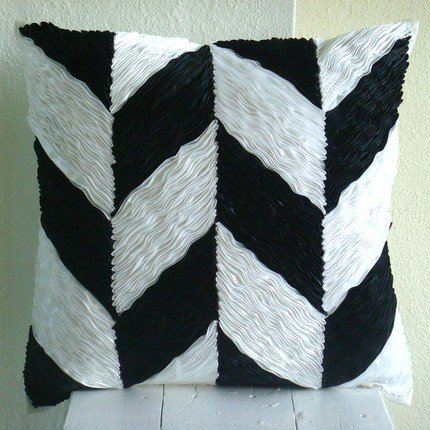 Designer Black Pillows Cover, Chevron Ribbon Pillows Cover, 16