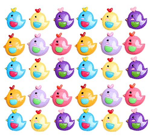 (30 Pack Kawaii Animal Slime Charms Resin Beads Flatback Buttons for Miniature Fairy Garden Accessories Scrapbooking Phone Case Decor (Chicken))