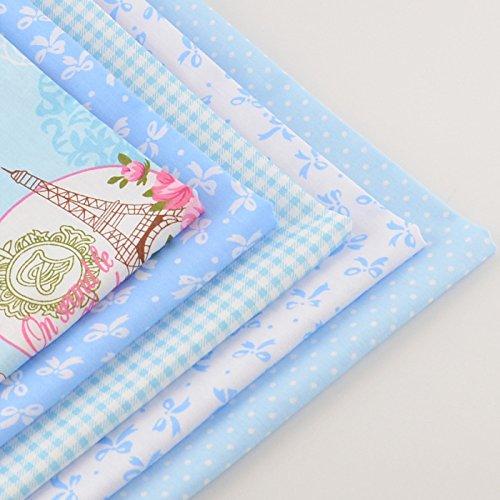 FairyTeller 5 Piece Blue Series 40Cmx50Cm 100% Cotton Fabric Fat Quarter Bundle Patchwork Quilting Bedding Tecido Tissue Home (Roses Trellis Pull)