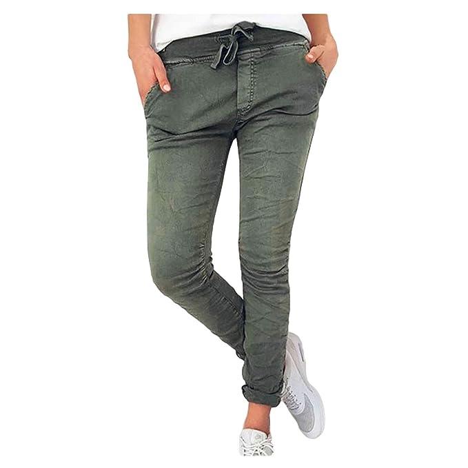 Luiyy® Pantalones de Vestir Mujer Vaqueros Corbata Cintura Alta ...