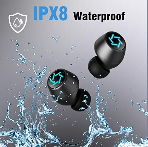 Wireless Earbuds Bluetooth 5.0 Headphones, Portable Charging Case and Mic 320H Playtime TWS Deep Bass Hi-Fi Stereo Built-in Mic Touch Control IPX8 Waterproof in-Ear for Travel Work Black