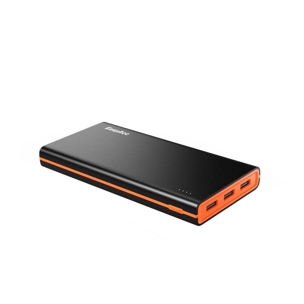 EasyAcc 2nd Gen 15000mAh Power Bank (4.8A Smart Output) Portable External Battery Pack 3 USB Ports Travel Charger -Black and Orange