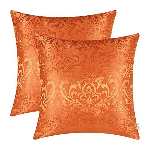 CaliTime Pack of 2 Throw Pillow Covers Cases for Couch Sofa Home Decoration Vintage Damask Floral Shining & Dull Contrast 18 X 18 Inches Bright Orange ()
