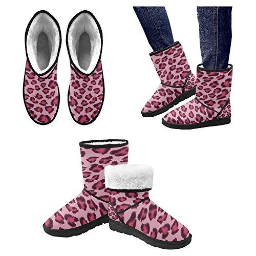 Scarponi Da Neve Womens Interestprint Stivali Invernali Comfort Dal Design Unico Taglia 5.5 Modello Leopardato Rosa Multi 1