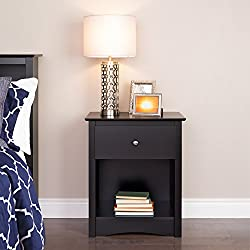 Prepac BDC-2401 Sonoma Nightstand, Tall 1-Drawer, Black