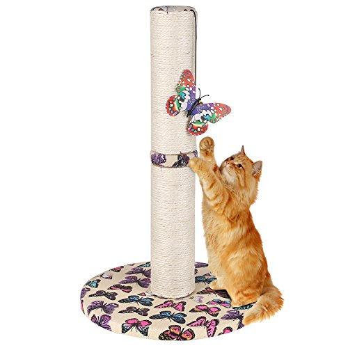 PEDY Cat Scratching Post, Cat Carpet Scratching Post with Hanging Butterfly Toy for Kitty Small Large Cats