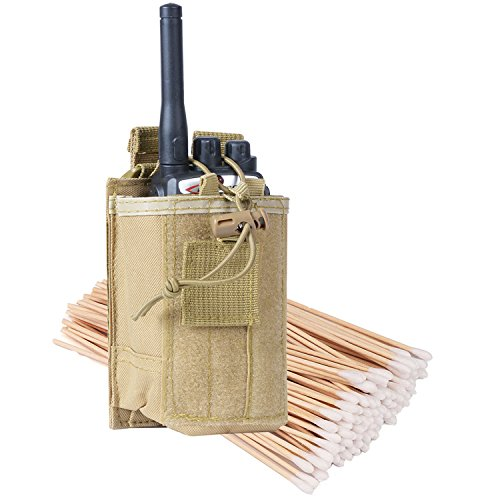 Radio Pouch - 600D Tactical Molle Two Way Radios Holder Case For Walkie Talkies(Tan,1 (Radio Attachment)