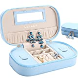 JL LELADY JEWELRY Small Jewelry Box Organizer Travel Jewelry Case Portable Faux Leather Jewelry Boxes Storage Case with Mirror for Women Girls, with Gift Box Packing (Blue)