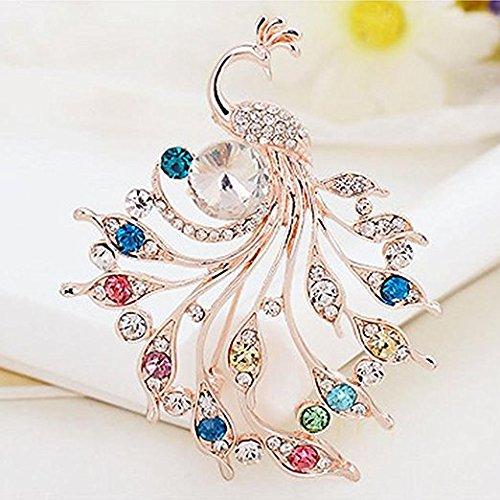 Zekaer Mariage Paon Cadeau Ornement Corsage Clip Robe De Mariée Broches Pour Les Femmes (coloré)