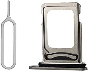 SIM Card Tray Holder Slot with Rubber Waterproof Gasket Replacement incl. Open Eject Pin for iPhone 12 Pro and 12 Pro Max (Silver, Dual Sim Version)