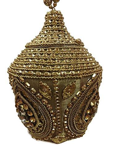 Bridal unique Royal Ghughru Round Handmade metal Handbag purse Hand clutch with high quality fully beaded Crystal ,Rhinestones and diamante, stones, swarovski women party clutch