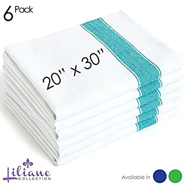 Extra Large 20 x30  Kitchen Dish Towels (6 Units) by Liliane Collection - Commercial Grade Absorbent 100% Cotton Kitchen Towels - Classic Herringbone Tea Towels in Stylish Vintage White (Size: 20  x 30 ) (6)