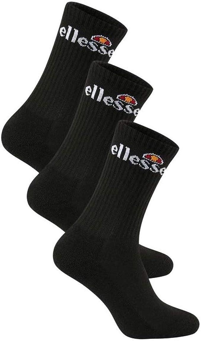 3 Pack Ellesse Arrom Mens Sports Fashion Training Crew Socks White