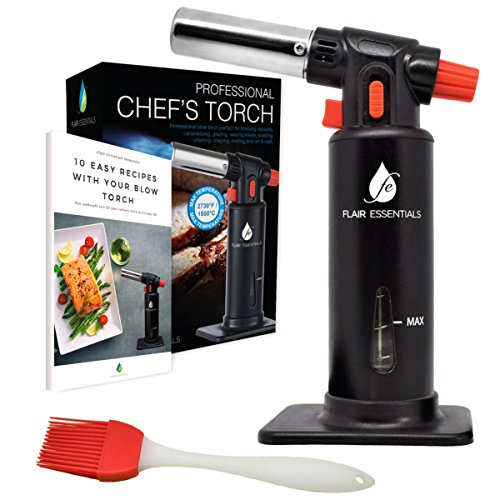 FlairEssentials Culinary Torch Kitchen Blowtorch - Cooking Torch Aluminum Adjustable Flame Safety Lock Refillable Blow Torch Butane Crafts Torch Camping Blow Torches FREE Silicone Brush, Recipe eBook
