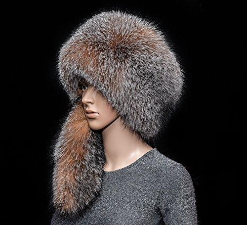 Saga Furs Rare Golden Frost Silver Fox Fur Handmade Men's Daniel Boone Style Massive Hat by Your Furrier