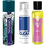 """WET Original Water Based Gel Lubricant (3.6 Ounce) bundled with WET Lubes """"Keep it Clean"""" Toy Wash (7.5 Ounce) and Wet Lubes Inttimo Sensuality Aromatherapy Oil (4.0 Ounce)"""
