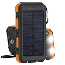 Solar Charger, Solar Power Bank 10000mAh External Backup Battery Pack Dual USB Solar Panel Charger with 2LED Light Carabiner Compass Portable for Emergency Outdoor Camping Travel-Orange