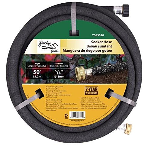 Rocky Mountain Goods Soaker Hose - Heavy duty rubber - Saves 70% water - End cap included for additional hose connect - Great for gardens/flower beds - Reinforced fittings (50-Feet by 5/8-Inch)