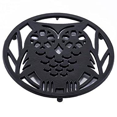Old Dutch Wise Owl Trivet, Matte Black