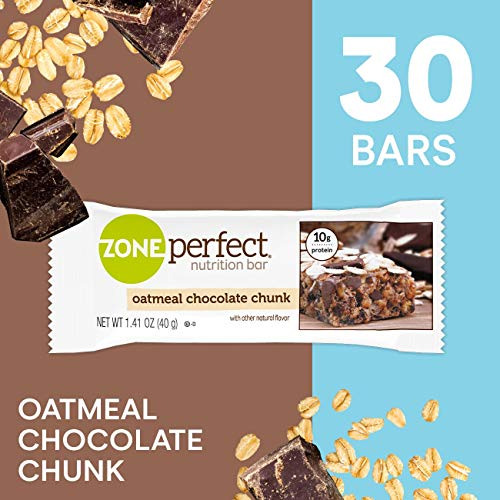 ZonePerfect Protein Bars, Oatmeal Chocolate Chunk, High Protein, With Vitamins & Minerals, 1.41 Ounce (30 Count) (Best Oatmeal Chocolate Chip Bars)