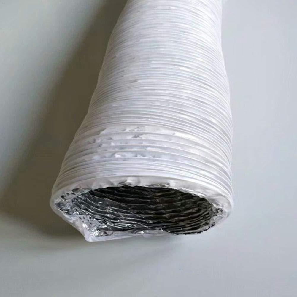 kapokilly Klimaanlage Auspuffschlauch Aluminiumfolienschlauch Auspuffrohr Kanal Drahtschlauchverbinder Wei/ß 15cm