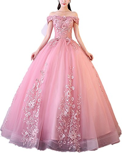 ab6b46c1652 ... Women s Sweet 16 Quinceanera Dresses Blush Pink Off Shoulder Lace Long  Prom Ball Gowns Size 10.   