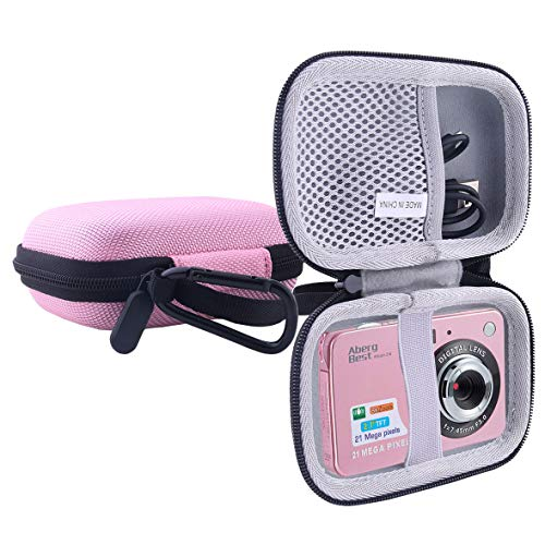 WERJIA Hard EVA Travel Case for AbergBest GordVE 21 Mega Pixels 2.7″ LCD Rechargeable Digital Camera (Pink)