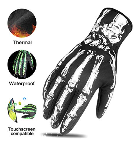 RIGWARL Skeleton Winter Gloves Men,Touch Screen Winter Gloves Waterproof Windproof,Fleece Liner and Reinforced Leather Grip Palm for Cycling,Motorcycling,Climbing,Working