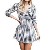 Spbamboo Womens Daily V-Neck Half Sleeve Plaid Sexy Casual Beach Club Dress