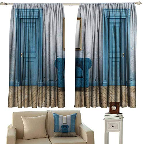 - WinfreyDecor Blue Antique Polyester Curtain Empty Room with Two Doors Armchair and Simple Mirror with Golden Color Frame Noise Reducing 72