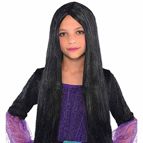 Amscan Girls Wicked Witch Wig (1 Piece), Black, 12.6
