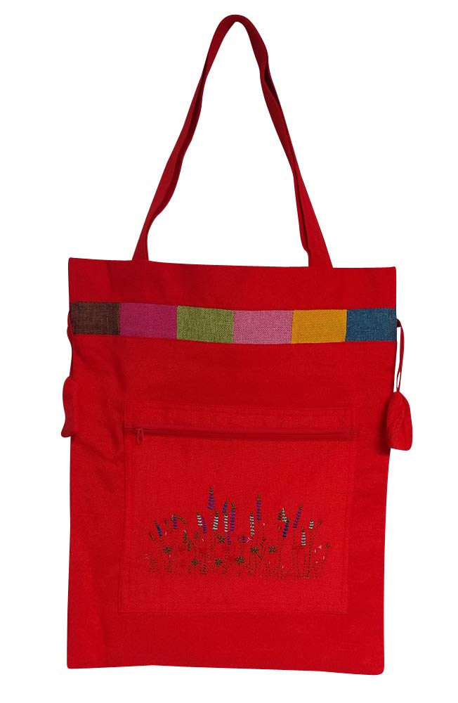 Antique Alive Embroidery Flower Red Drawstring Canvas Tote Shoulder Book Grocery Shopping Eco Diaper Beach Laptop Bag Bookbag