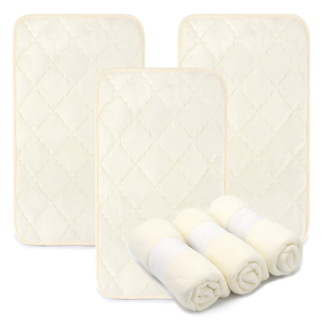 PEKITAS 3 Pack Bamboo Changing Pad Liners 27.5 x 13.8 Inches Quilted Thick Large Waterproof Portable Baby Rhombus Pattern