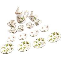 Baoblaze 15Pcs 1/12 Dollhouse Miniature Porcelain Tea Set Dish Cup Plate Green Flowers Print Tea Ware Set Dollhouse Decorations