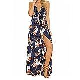 maxi hair brush - Women Maxi Dress,Boho Floral Tunic Skirt Strappy Empire Party Beach Sundress Axchongery (Navy, S)