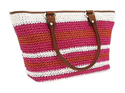 - DKNY Donna Karan Pink Orange Straw Brown Leather Large Beach Shopper Tote