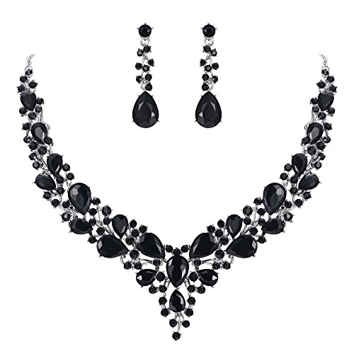 BriLove Wedding Bridal Necklace Earrings Jewelry Set for Women Austrian Crystal Teardrop Cluster Statement Necklace Dangle Earrings Set Black Silver-Tone