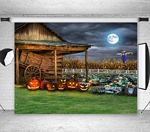 LB Halloween Pumpkin Backdrop for Photography 7x5ft Vinyl Rustic Farm Harvest Season Fall Photo Backdrop for Party Event Portrait Photo Booth -