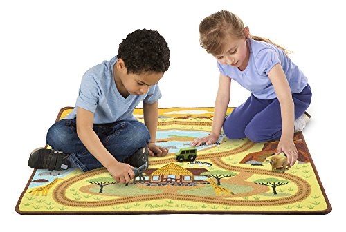 Melissa & Doug Round The Savanna Safari Activity Rug Wooden Truck, 39 x 36
