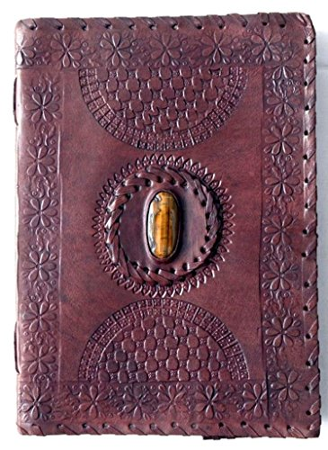 Phoenix Craft 10×7 Tiger Eye Stone Celtic Leather Journal Bound Handmade Diary gift book sketchbook