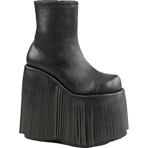 Demonia SLAY-205 Women's Platform Wedge Heel Ankle Boot With Fringe Encasing, Color:BLACK VEGAN LEATHER, Size:15