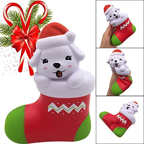 DEESEE(TM))Squishies Kawaii Christmas Puppy Slow Rising Fruits Scented Stress Relief Toys