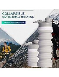 Weisika - Botella de agua plegable de silicona de 550 ml, sin BPA, para deportes, viajes, aprobado por la FDA, portátil, a prueba de fugas, de silicona, plegable, reutilizable, para correr, caminar, acampar, senderismo