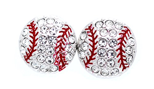 Violet Victoria & Fan Star Crystal Baseball Earrings - Post (Crystal/Red)