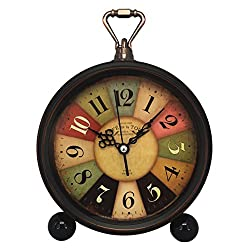 Vintage Retro Living Room Decorative Non-ticking, Sweep Second Hand, Quartz, Analog Large Numerals Bedside Table Desk Alarm Clock, Battery Operated (Tuscan Style)